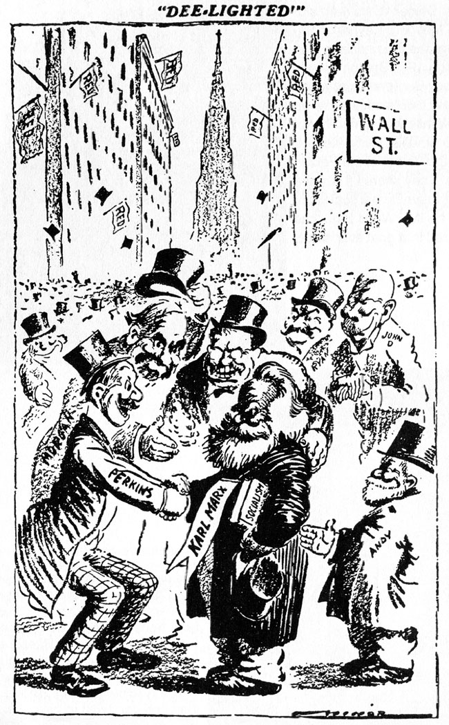 Deelighted-Wall-Street-financing-Karl-Marx-cartoon-by-Robert-Minor Who Financed Bolshevik Revolution?