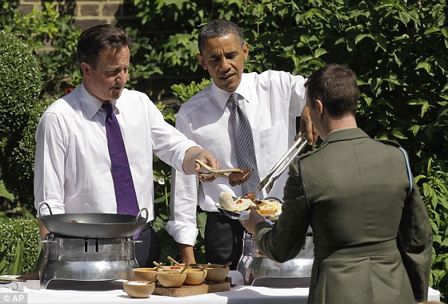 Prime Minister David Cameron and US President Barack Obama serve food during a Downing Street barbecue in May 2011.When Cameron visited the White House in January, he insisted the President had said the special relationship was 'stronger than it has ever been'