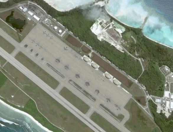 This satellite image taken in 2006 shows B-52s and KC-135s on the ramp at Diego Garcia