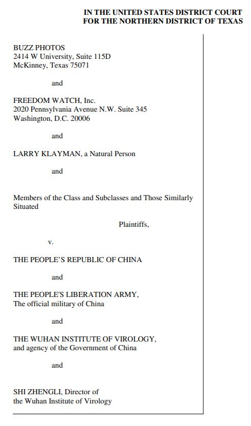 First page of the class action lawsuit brought by Larry Klayman. Find the full document here. Source: Freedom Watch