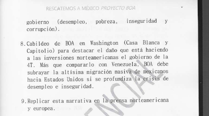 The section of the BOA plan on lobbying in Washington and using the media to push anti-AMLO messaging