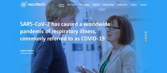 Vaccitech's homepage showing company co-founders Adrian Hill and Sarah Gilbert