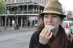 Eating a beignet in New Orleans