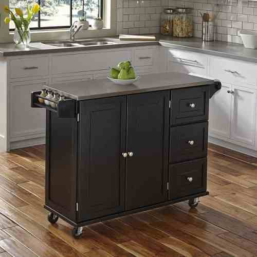 Liberty Black Kitchen Cart with Stainless Steel