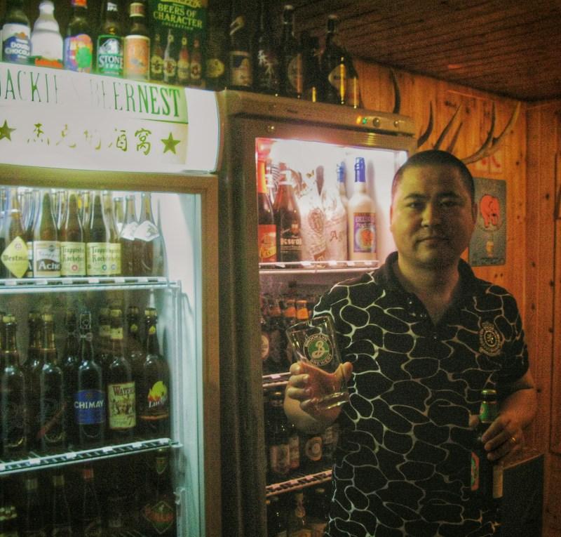 Jackie Zhou at Jackie's Beer Nest, Shanghai.