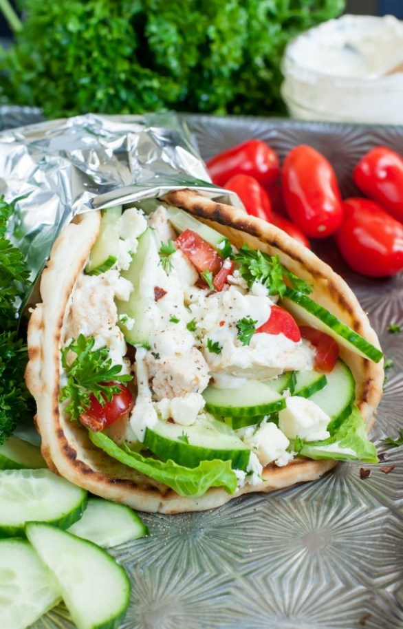Chicken Gyros With Greek Feta Sauce
