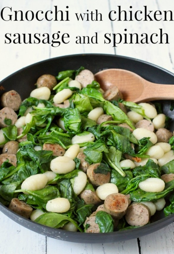 gnocchi with chicken sausage and spinach