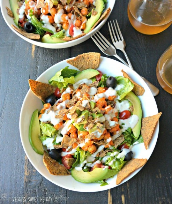 Cooking For Two: Buffalo Ranch Chickpea Taco Salad Recipe