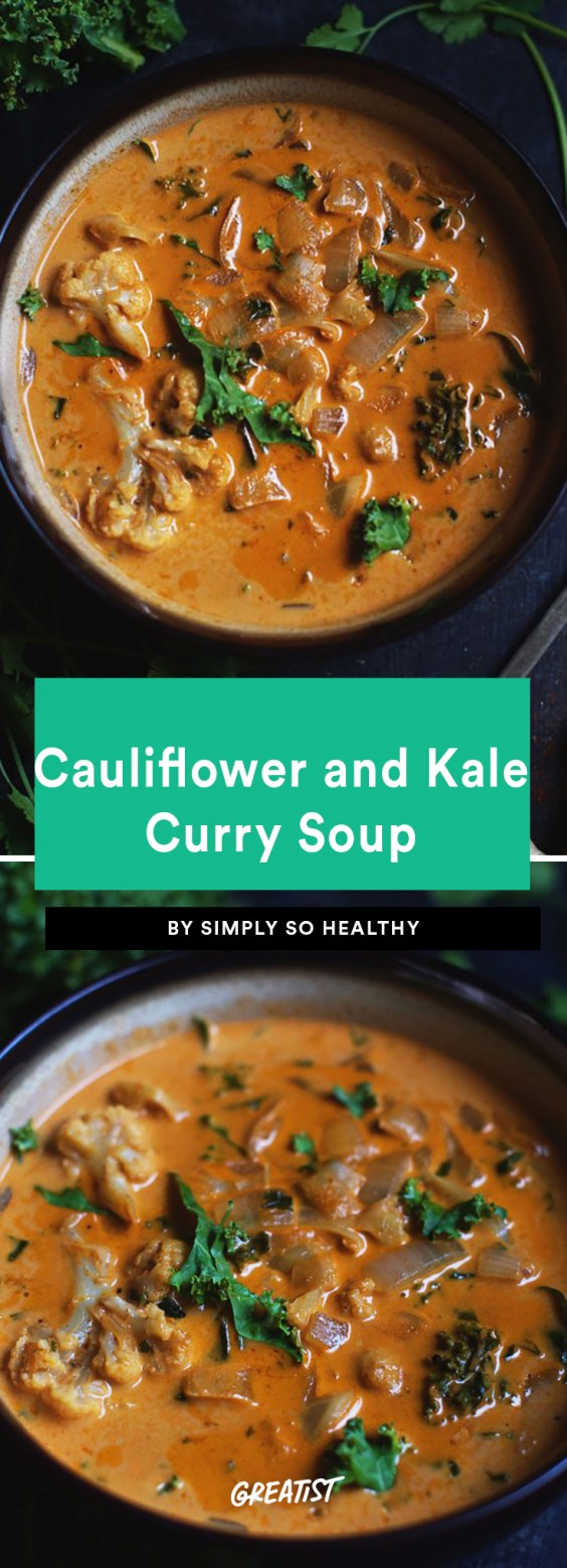 Cauliflower and Kale Curry Soup Recipe