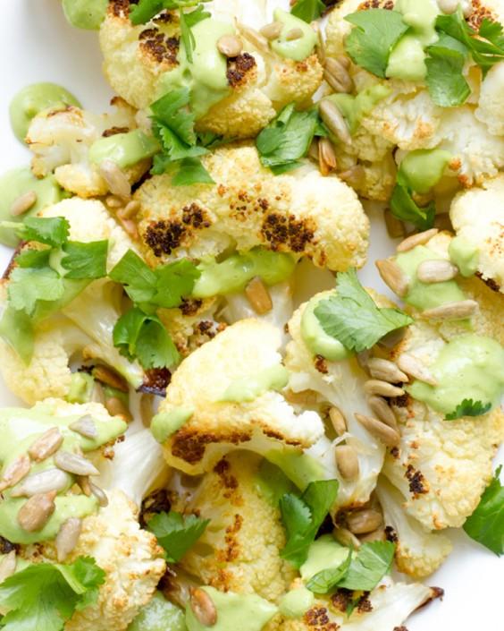 Roasted Cauliflower With Avocado Lime Cilantro Dressing