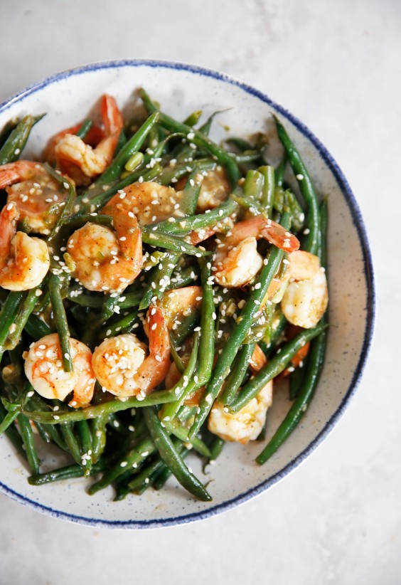 One-Pan Shrimp and Green Beans in Chinese Garlic Sauce Recipe