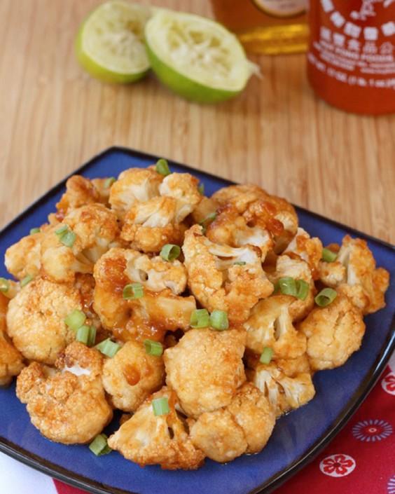 Honey Lime Sriracha Glazed Cauliflower Wings