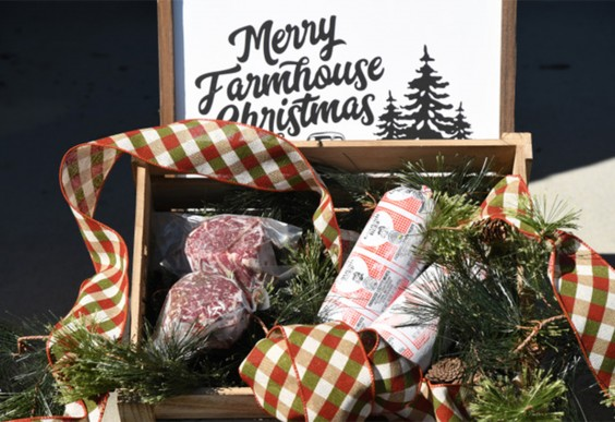 Gift box full of wagyu rib eye beef and ground beef