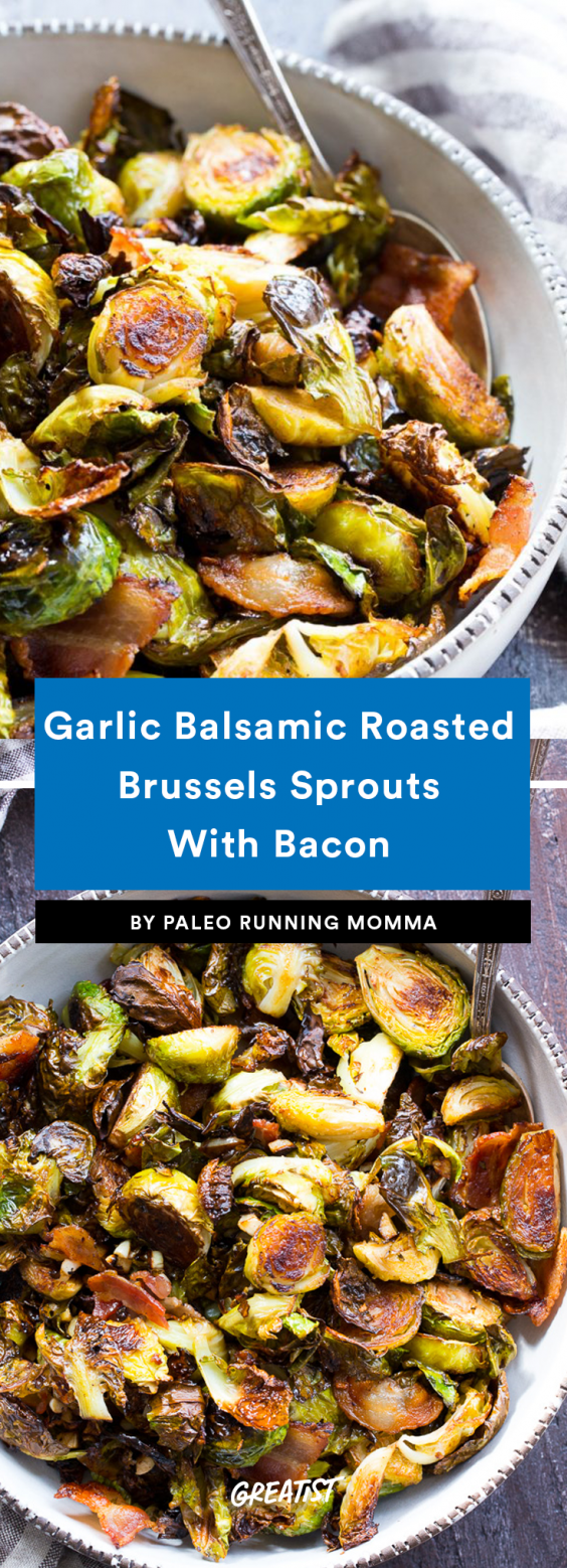 Paleo Running Momma_Garlic Balsamic Roasted Brussels Sprouts Recipe