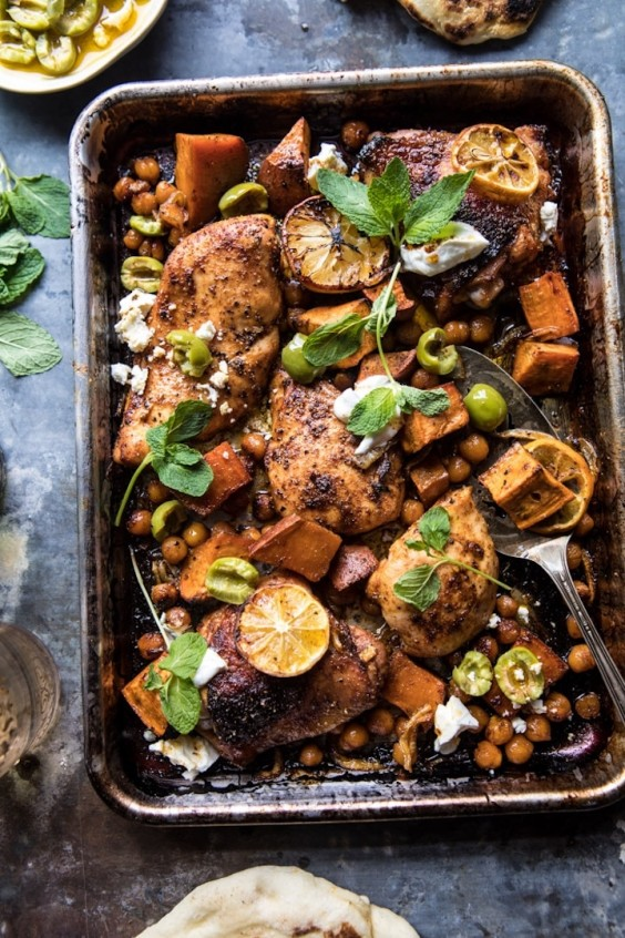 Sheet Pan Harissa Chicken With Chickpeas and Sweet Potatoes Recipe