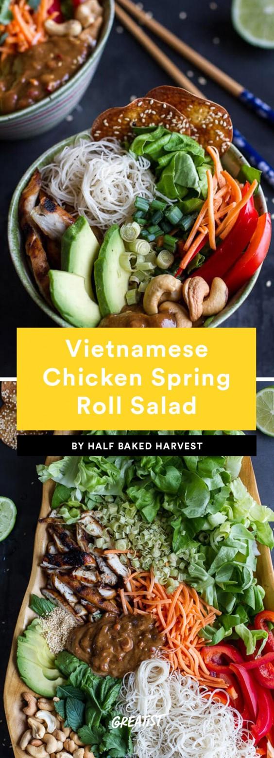 Vietnamese Chicken, Avocado, and Lemongrass Spring Roll Salad Recipe