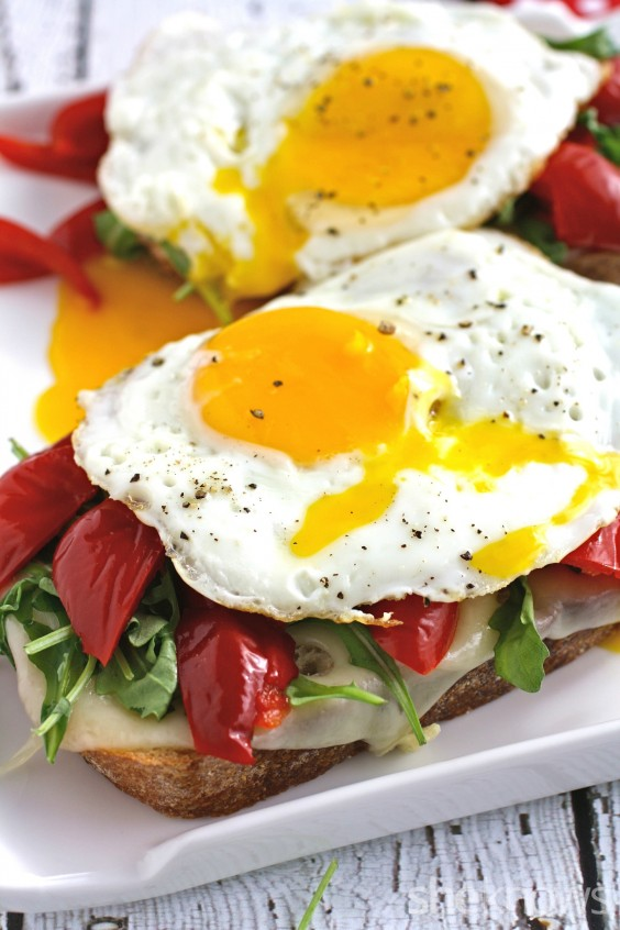 Open-faced Grilled Cheese Sandwich with a Fried Egg