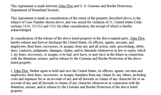 CBP's Hold Harmless and Release Agreement Form