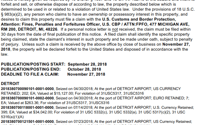 A September 28 2018 notice of seizure and intent to forfeit cash seized at Detroit Metro airport.