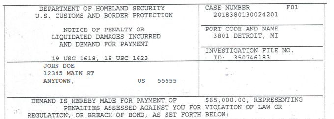 Notice of Penalty or Liquidated Damages Inccured by CBP