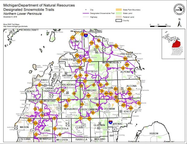 Map of snowmobile trails in the northern Lower Peninsula (courtesy of MI DNR)