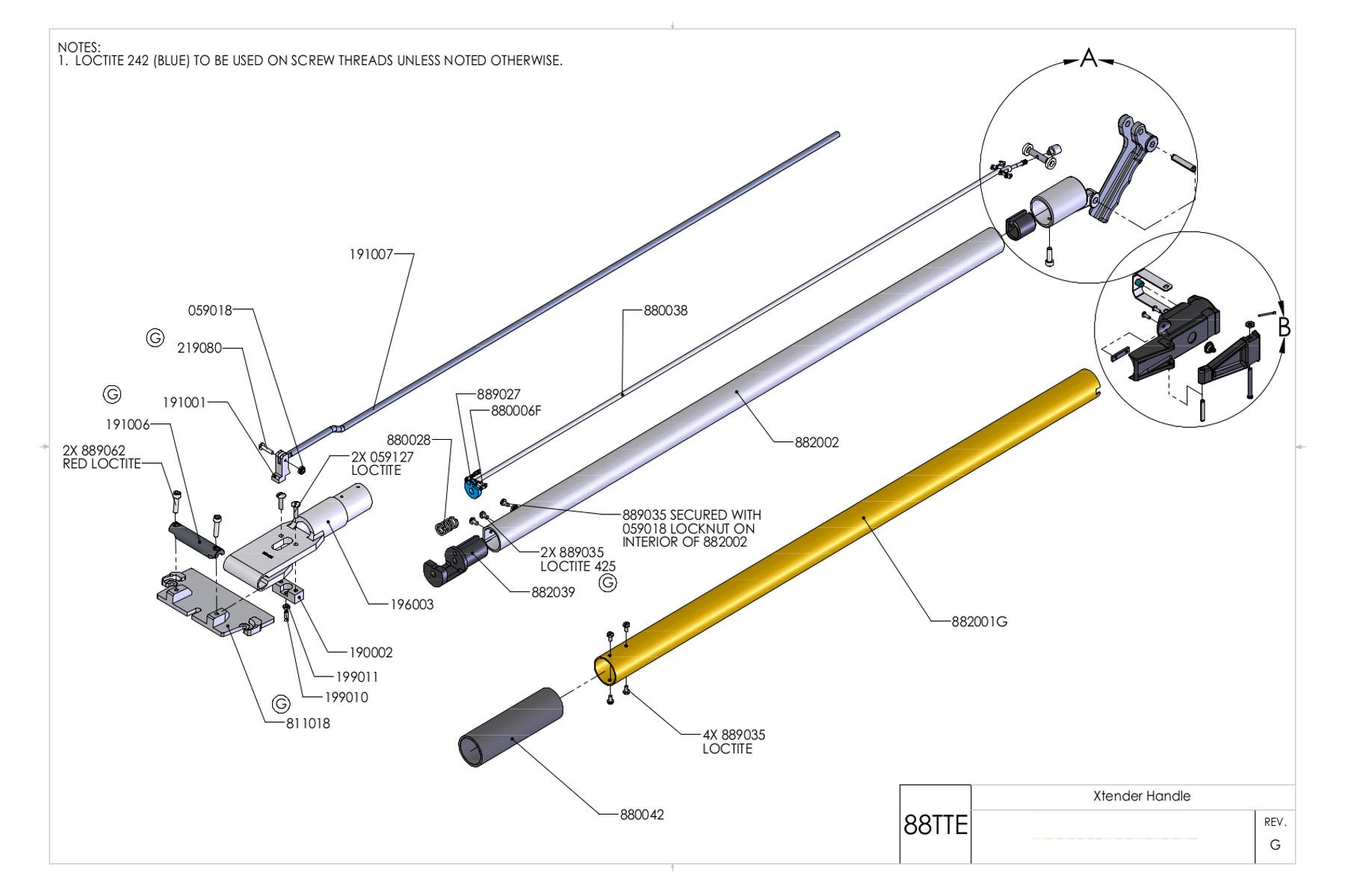 Tapetech Extendable Handle Parts