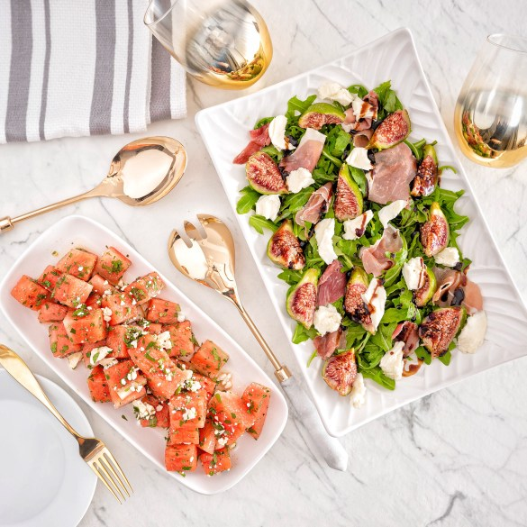 Fig and Arugula Salad and Prosciutto Watermelon Salad