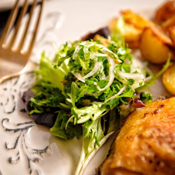 Chicken Confit with Potatoes and Parsley Salad