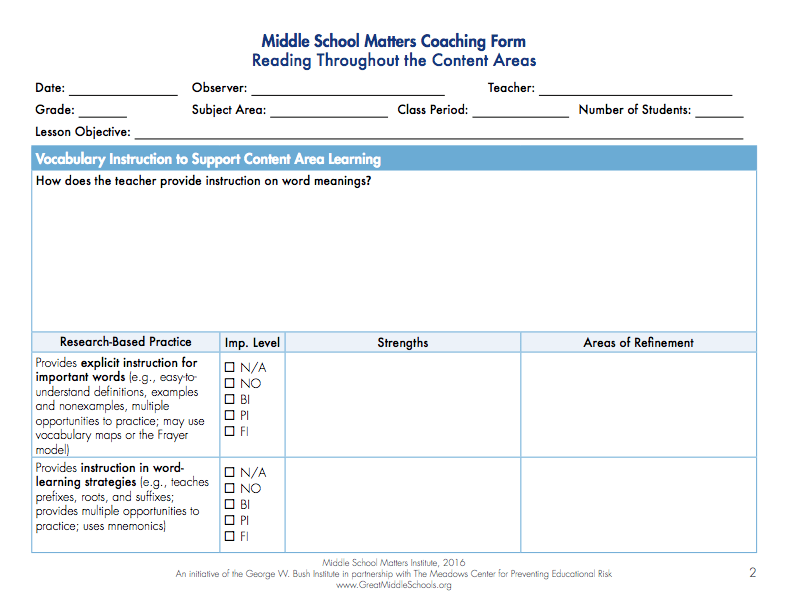 Reading Coaching Form
