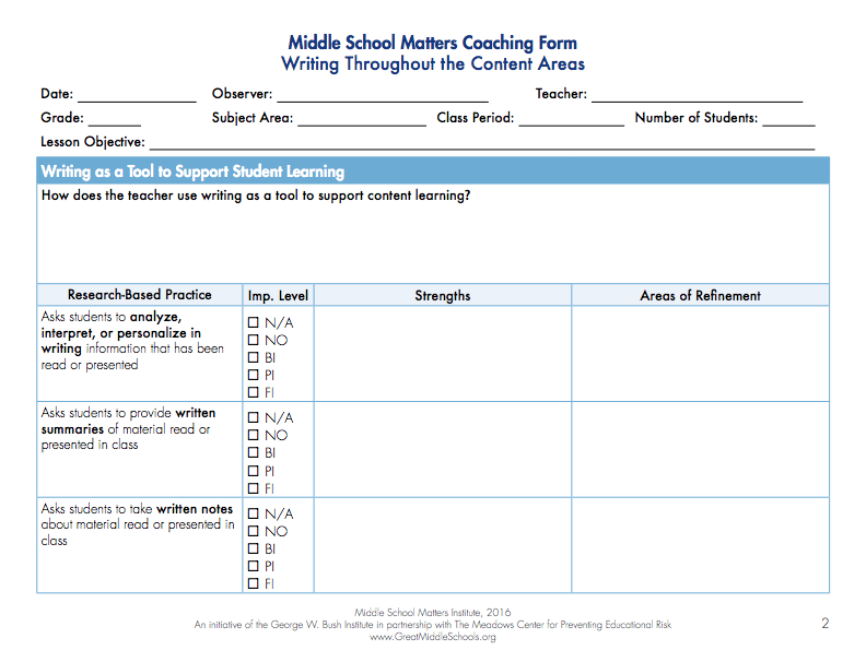 Writing Coaching Form