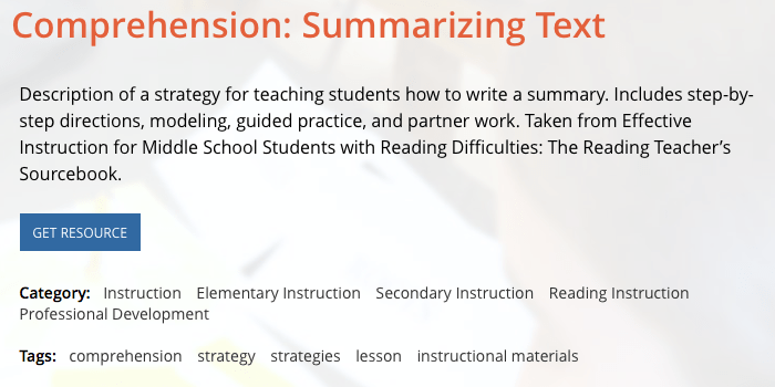 Summarization For Comprehension Middle School Matters