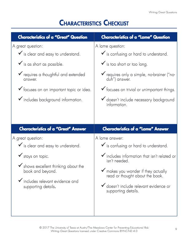 Characteristics Checklist