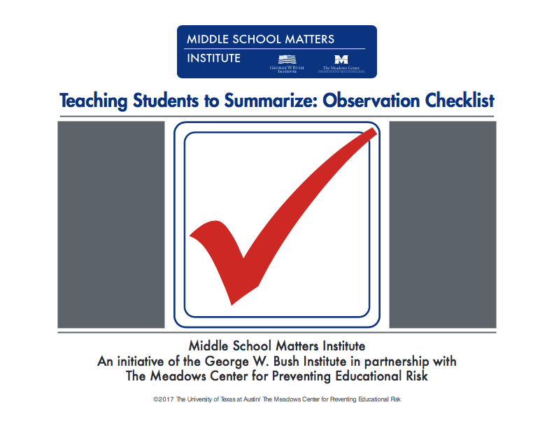 summarize: observation checklist