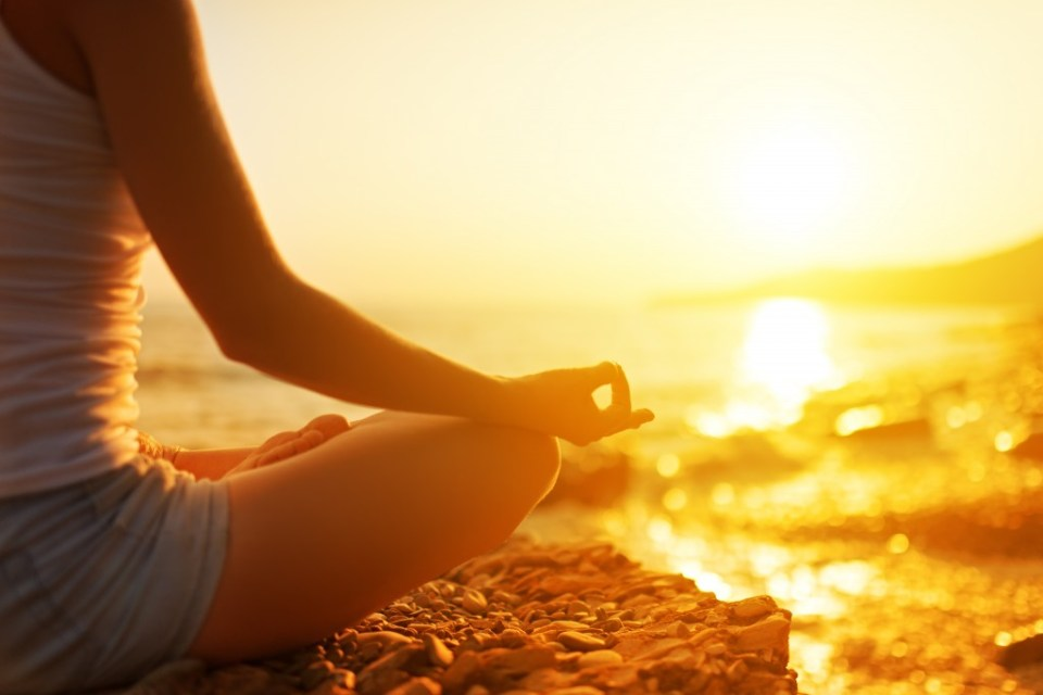 Meditation-Anxiety-Hand-Of-Woman-Meditating-In-A-Yoga-Pose-On-Beach-shutterstock_173387312
