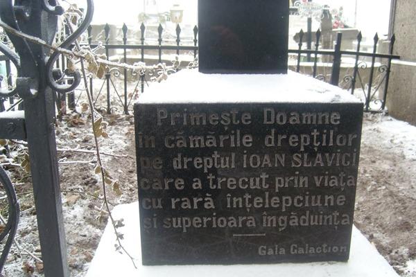 Mesajul de adio al lui Gala Galaction, pe mormântul lui Ioan Slavici. Foto: actualitateasm.ro