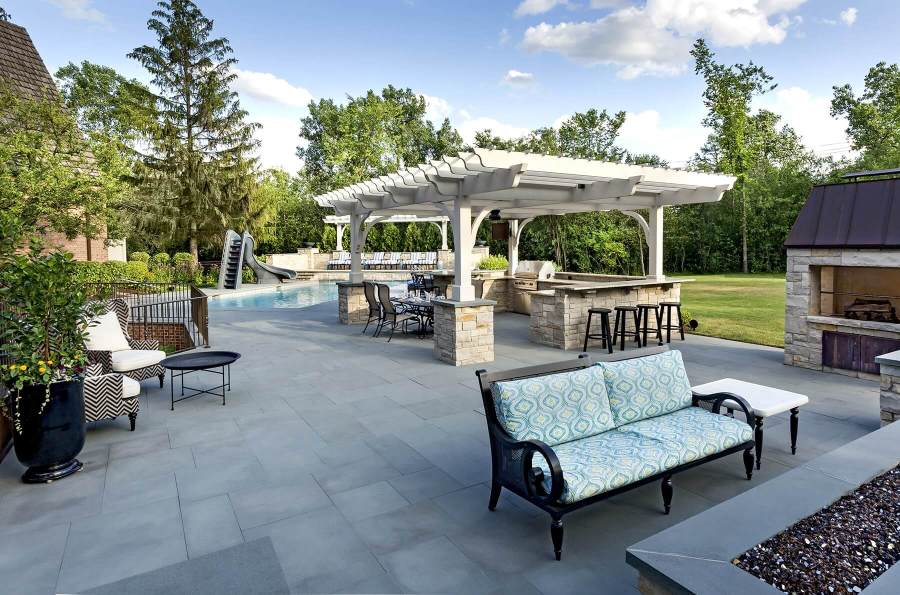 Pergola  Outdoor Kitchen  Ipe Decking  And Linear Fire Pit     A Backyard With The    WOW    Factor