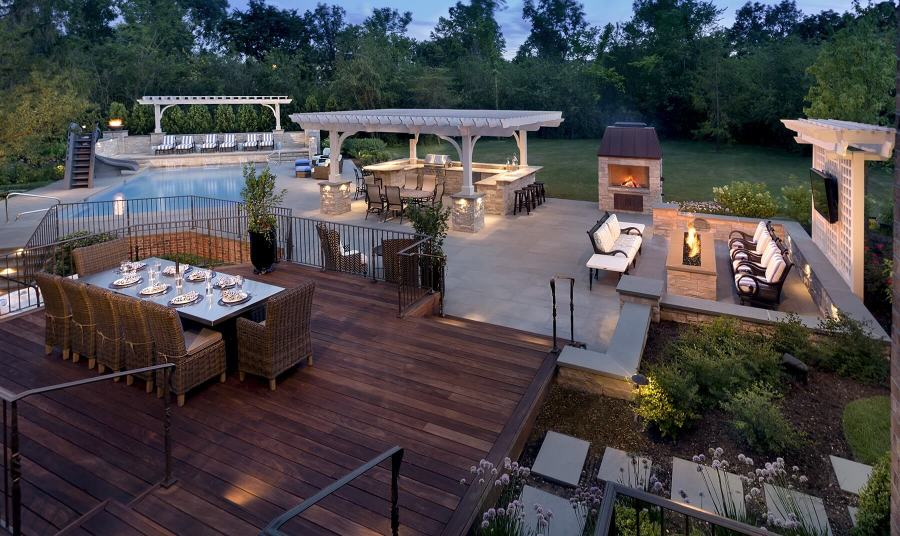 Pergola  Outdoor Kitchen  Ipe Decking  And Linear Fire Pit     Deck With LED Lighting  Fire Pit   Outdoor Kitchen