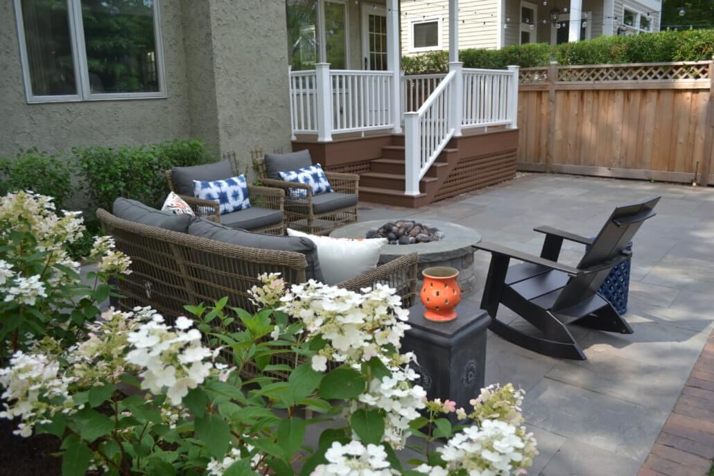 Reclaimed Pavers, Bluestone Patio, & Stone Fire Pit ... on Patio Stone Deck Ideas id=90042