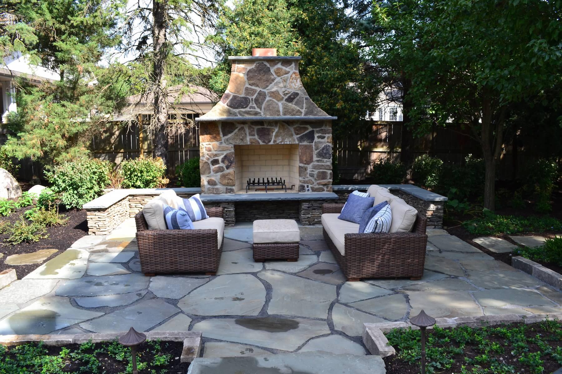 outdoor stone fireplace paver patio