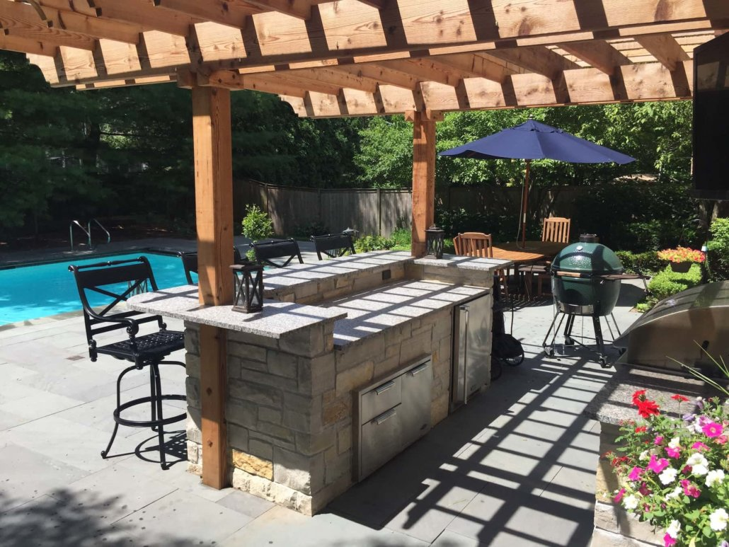 Pergola, Outdoor Kitchen, & Pool Decking - Northbrook, IL ... on Outdoor Kitchen By Pool id=12740
