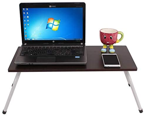 Maverick Multipurpose (Made in India) Laptop/Bed Table with Non-Skid Foldable Legs (Wenge, Steel/Dark) Study & Work