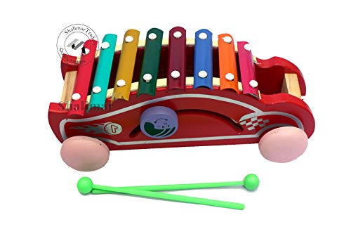 """Wooden Xylophone Toy 8 Nodes Multicolored Toy for Kids Car Shaped Big Size """"Made in India"""" Toys"""