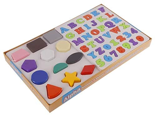 Ambe 3 in 1 Educational Alphabets, Numbers and Shapes for Kids. Made in India Toys