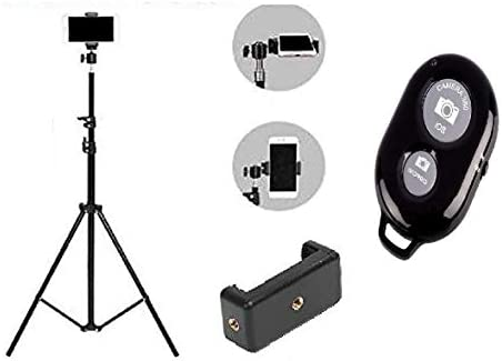 Ionix 2.1 Meters High, Full Made in India Mobile Tripod Stand with Mobile Holder & Bluetooth Remote, Works with All Android and Apple Smartphones Accessories