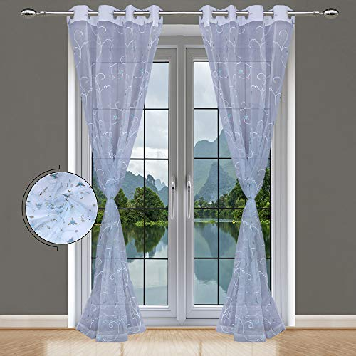 Transparent Embroidery Eyelet Grommet Door Curtains for Living Room/Dining Hall/Hotel (7 Feet, Sky) – Set of 2 pcs – Made in India Home Care
