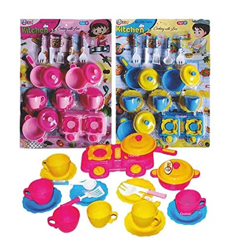 Sevriza™ Kitchen Play Set Toy for Kids Non Toxic Indian Kitchen Set Made in India Pretend Role Play Set Children Learn Play Fun Toddler (Blister Big Kitchen Set) Kids Care