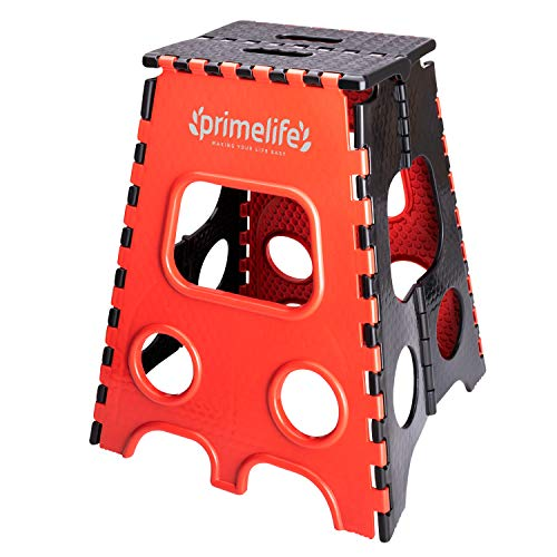 Primelife 20 Inches Plastic Multi-Purpose Folding Step Stool for Adults and Kids, Kitchen Stepping Stool, Garden Step Stool – Made in India (Red – Black) Furniture