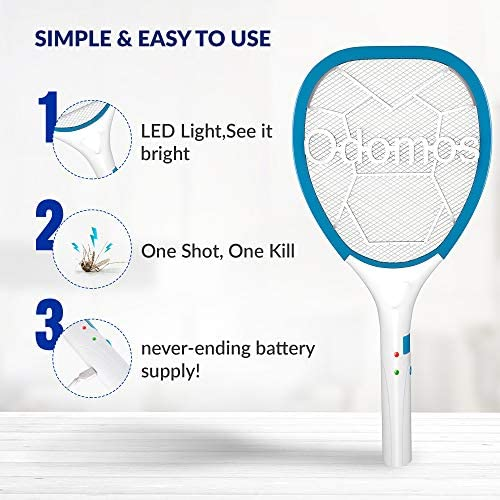 Odomos Mosquito Killer Racquet : Rechargeable 500 mAh Battery Insect Killer Bat with Led LightMade in India (6 Months Warranty) Electronics