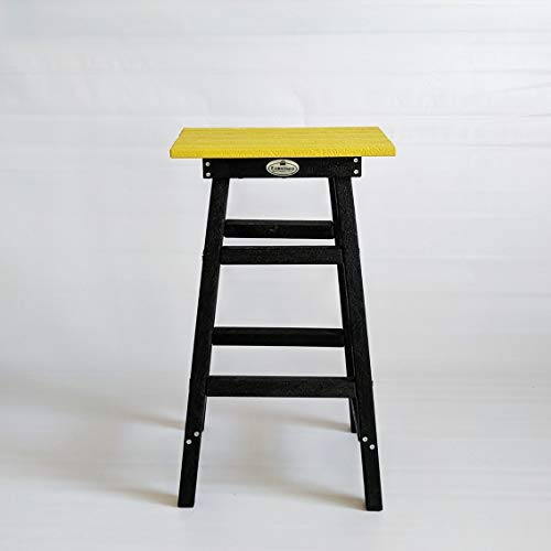 Econiture Belle Bar Recycled Plastic Stool Multipurpose Home, Office, Garden, Indoor and Outdoor Size 43 * 34 * 74 cm : Yellow Furniture
