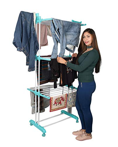 Parasnath Aqua 6 Layer Clothes Drying Stand with Breaking Wheel System Made in India (Actual Price 2599) Home Care